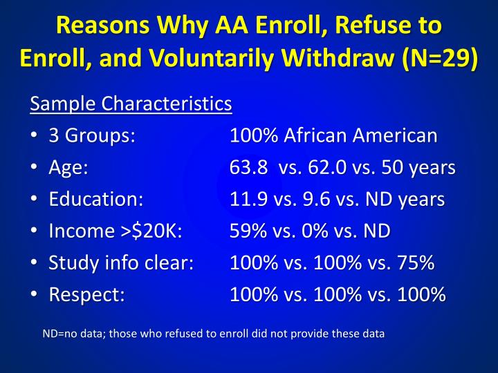 Reasons Why AA Enroll, Refuse to Enroll, and Voluntarily Withdraw (N=29)