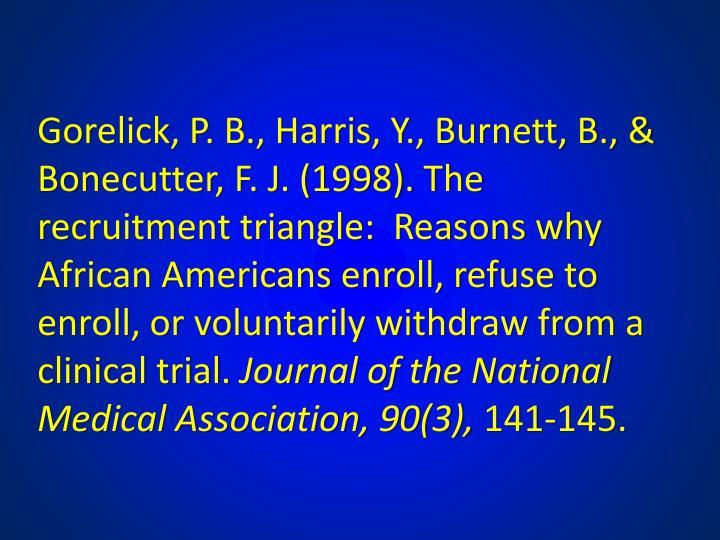 Gorelick, P. B., Harris, Y., Burnett, B., & Bonecutter, F. J. (1998). The recruitment triangle:  Reasons why African Americans enroll