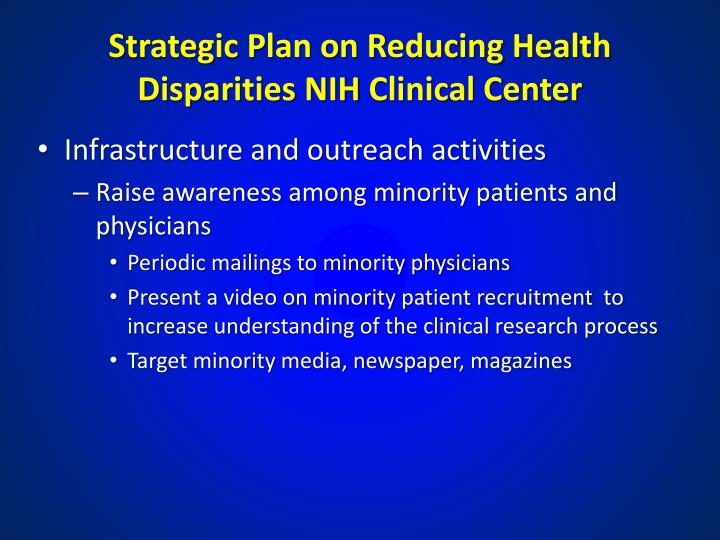 Strategic Plan on Reducing Health Disparities NIH Clinical Center
