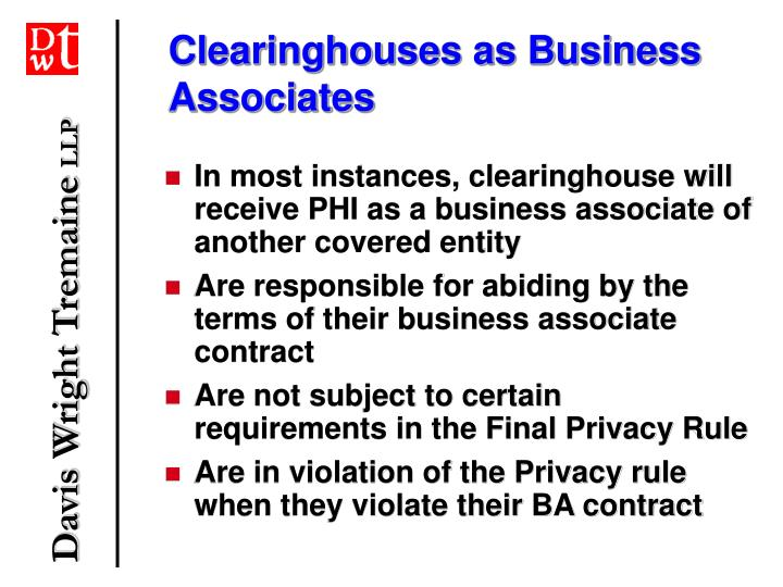 Clearinghouses as Business Associates