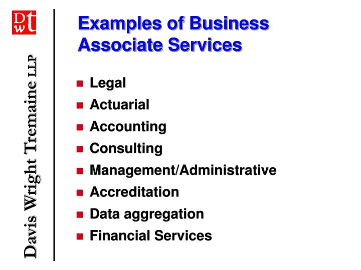 Examples of Business Associate Services