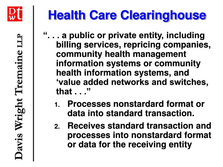 Health Care Clearinghouse