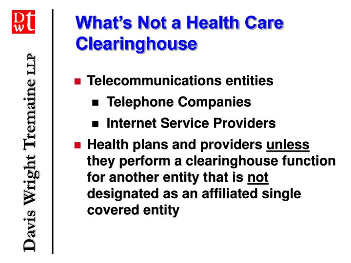 What's Not a Health Care Clearinghouse