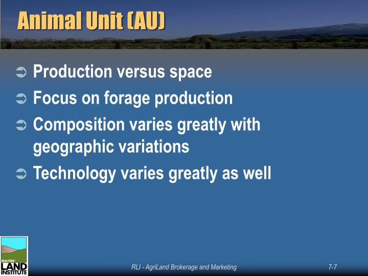 Animal Unit (AU)