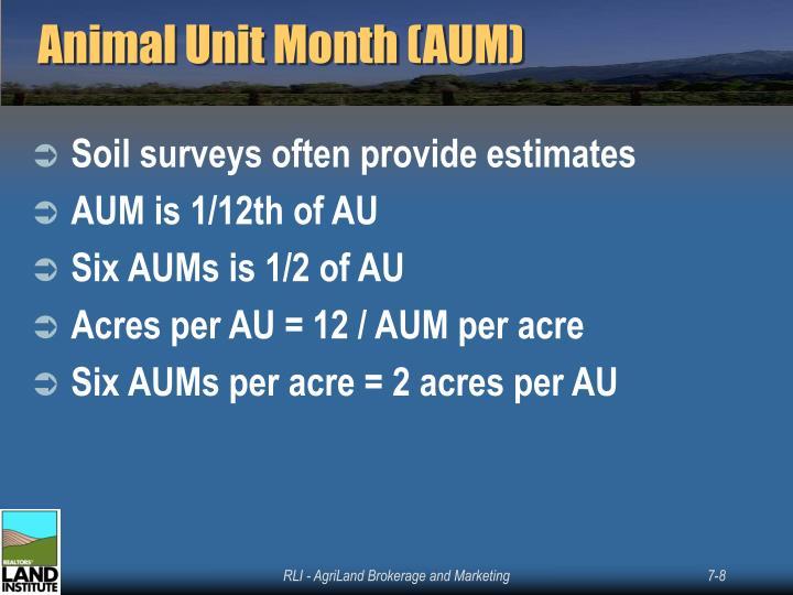 Animal Unit Month (AUM)