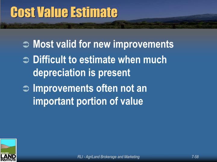 Cost Value Estimate