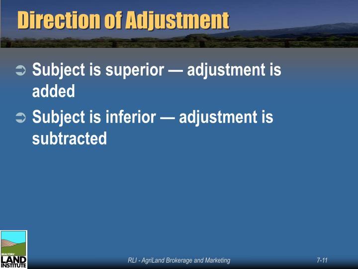 Direction of Adjustment