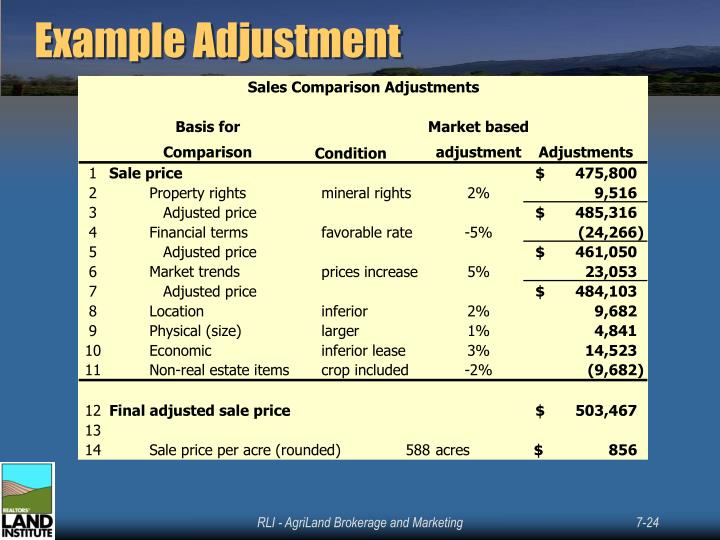 Example Adjustment