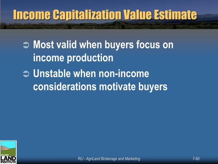 Income Capitalization Value Estimate
