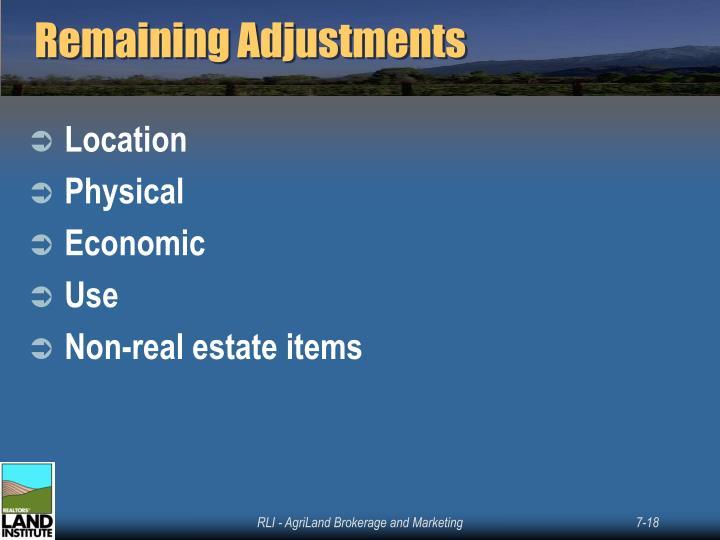 Remaining Adjustments