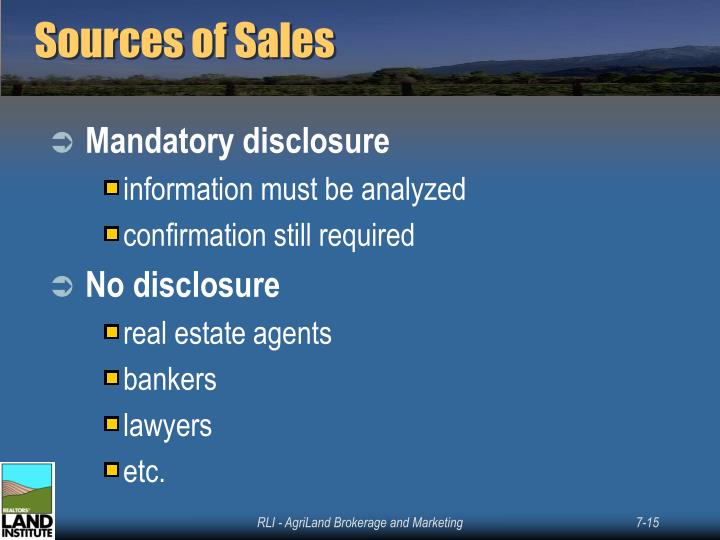 Sources of Sales