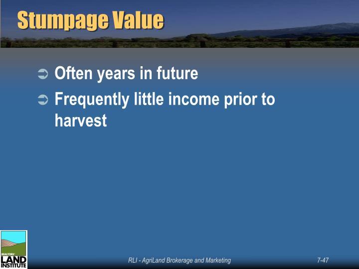 Stumpage Value