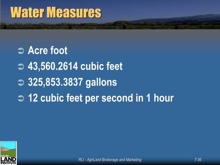 Water Measures