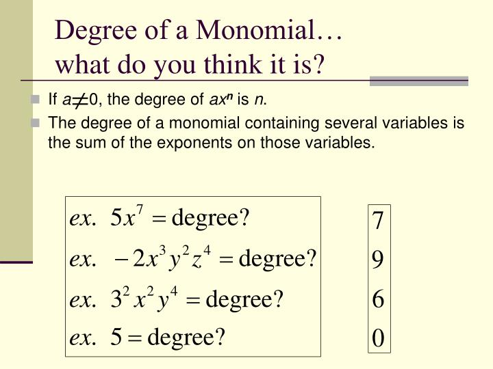 Degree of a monomial what do you think it is
