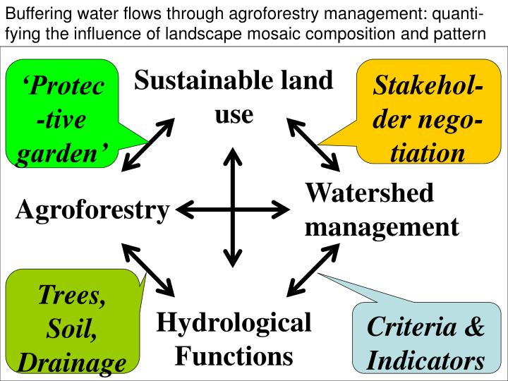 Buffering water flows through agroforestry management: quanti-fying the influence of landscape mosaic composition and pattern