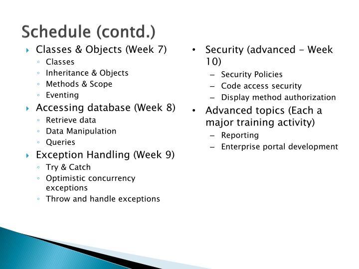 Schedule (contd.)