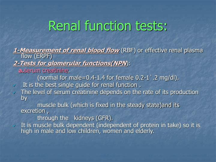 Renal function tests: