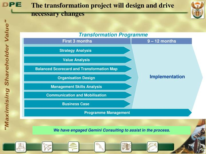 The transformation project will design and drive necessary changes