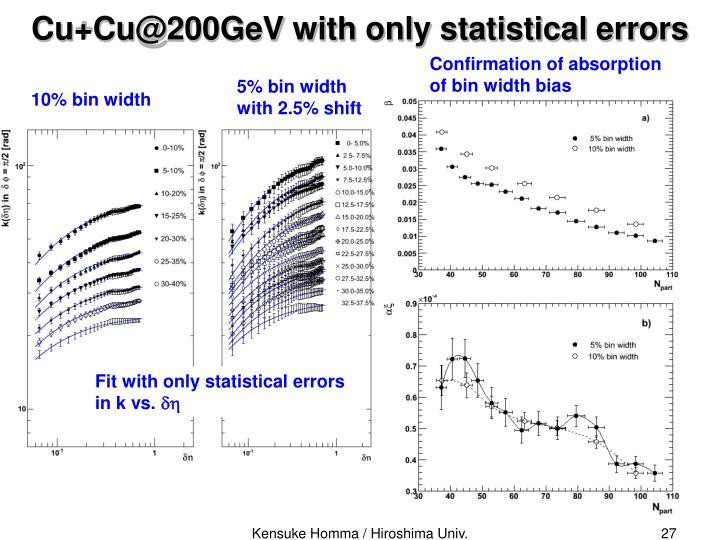 Cu+Cu@200GeV with only statistical errors
