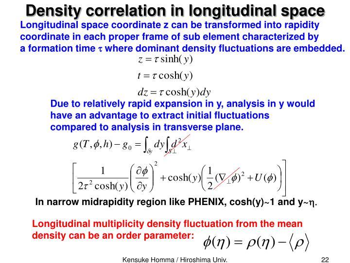 Density correlation in longitudinal space