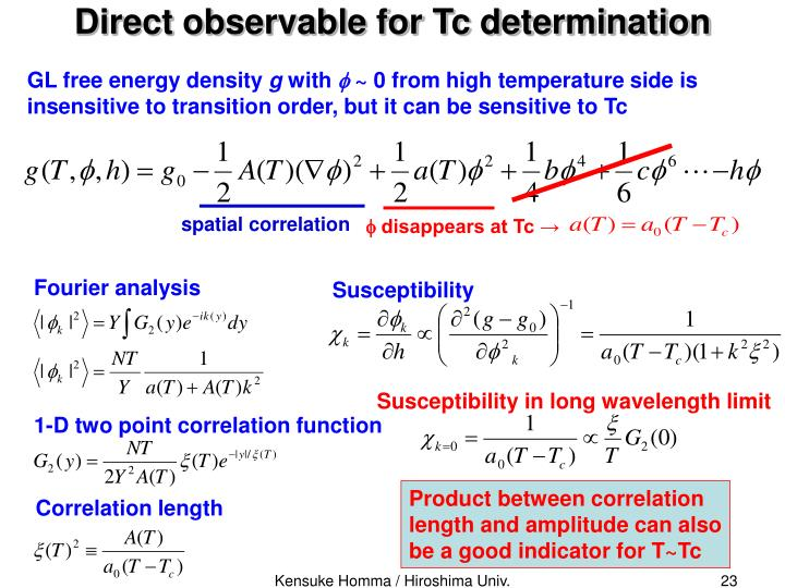 Direct observable for Tc determination