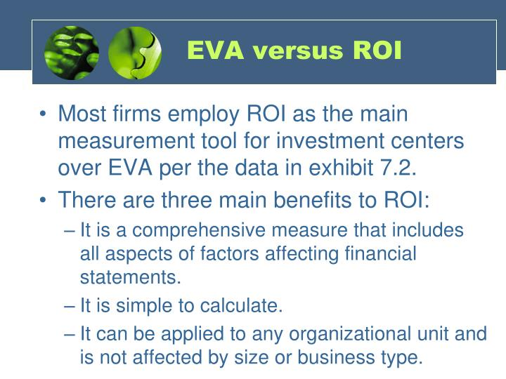 eva vs roi essays Comparing traditional and economic performance measures for the importance of economic value added for the return on investment (roi.