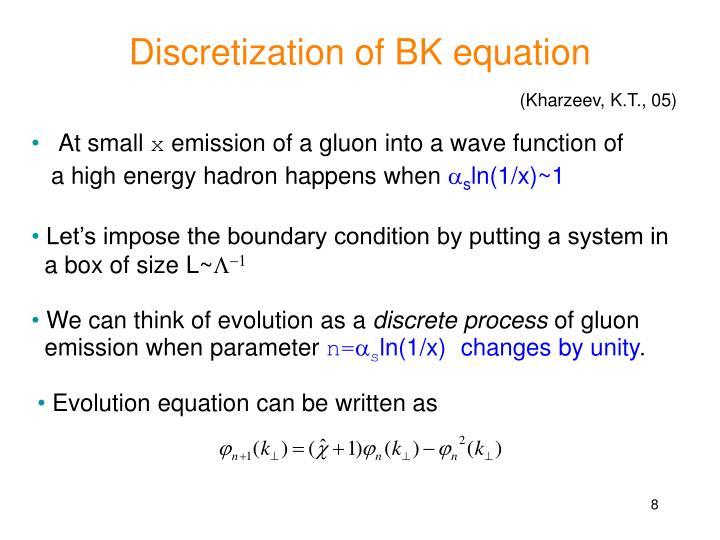 Discretization of BK equation