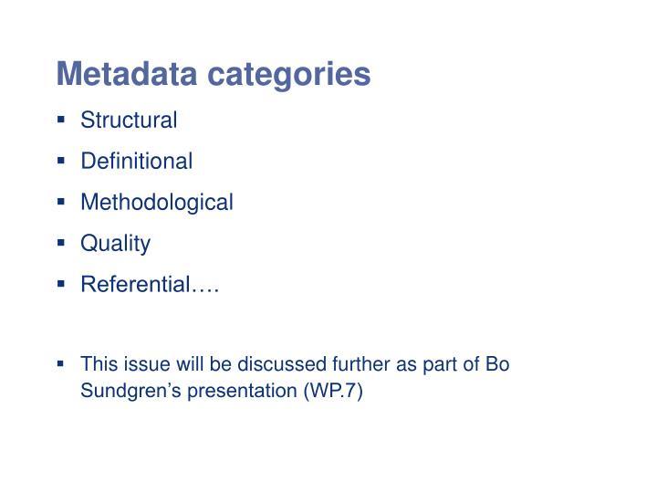 Metadata categories