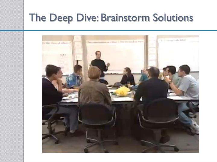 The Deep Dive: Brainstorm Solutions