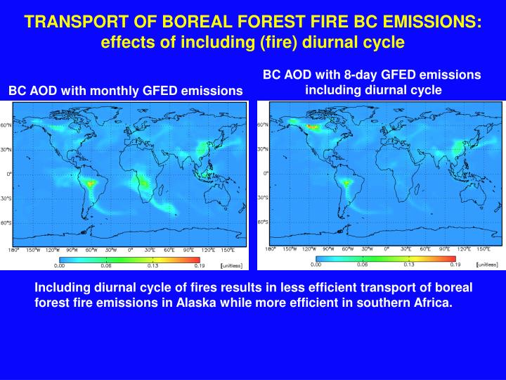 TRANSPORT OF BOREAL FOREST FIRE BC EMISSIONS: effects of including (fire) diurnal cycle