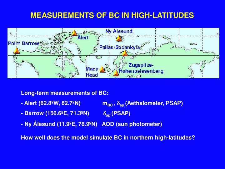 MEASUREMENTS OF BC IN HIGH-LATITUDES