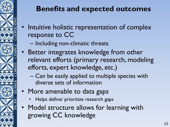 Benefits and expected outcomes