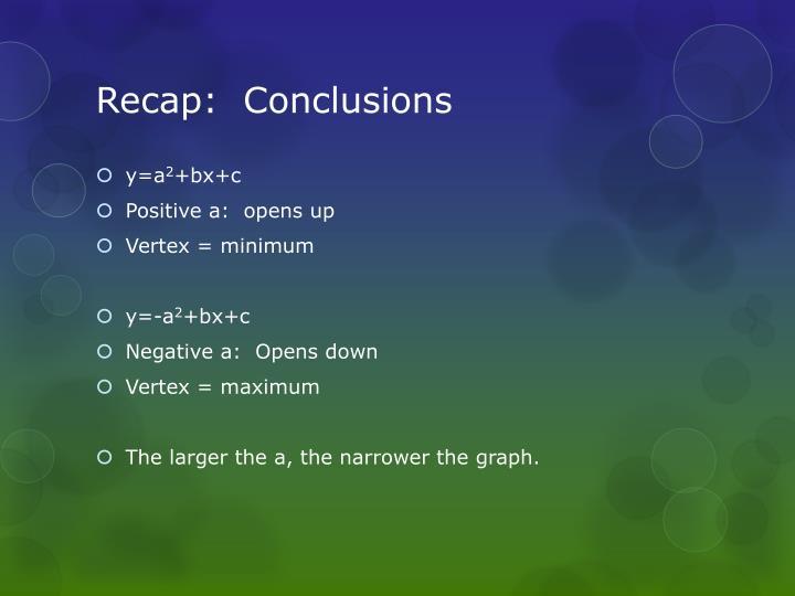 Recap:  Conclusions