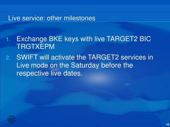 Live service: other milestones