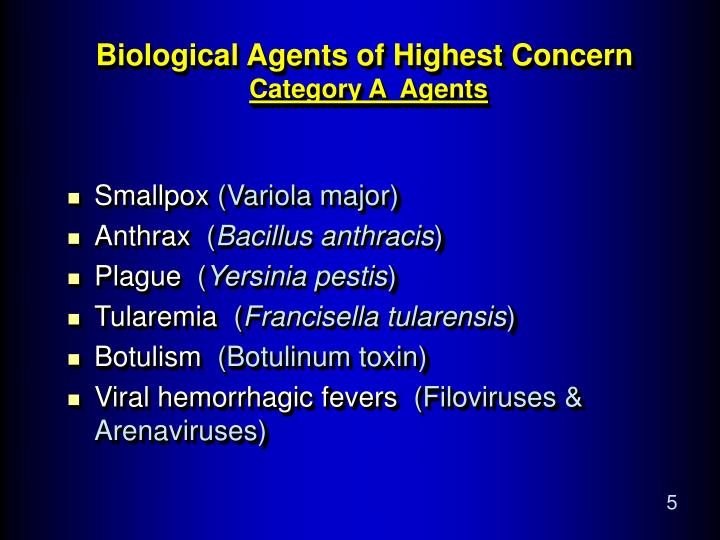 Biological Agents of Highest Concern