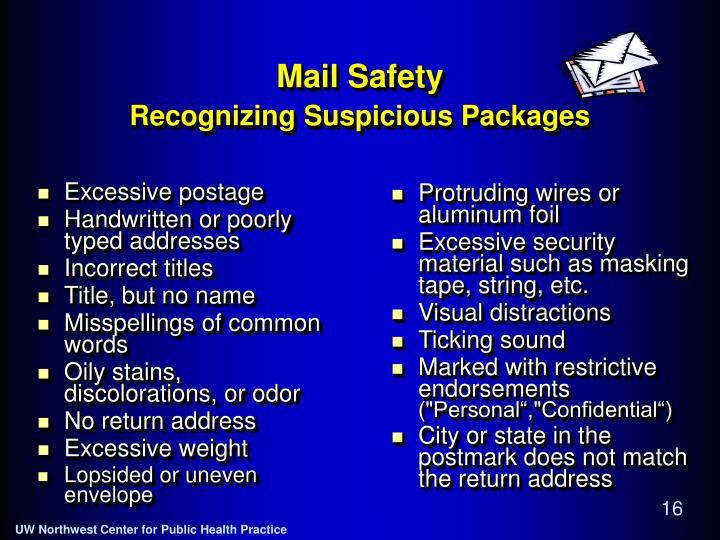 Excessive postage