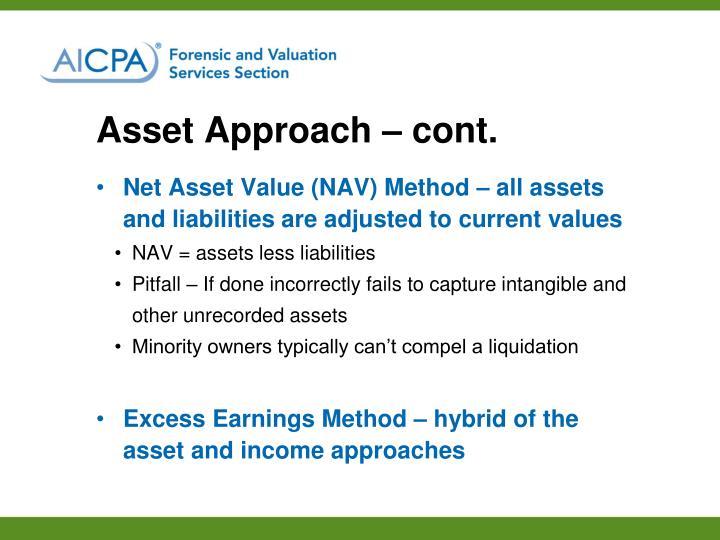 Asset Approach – cont.