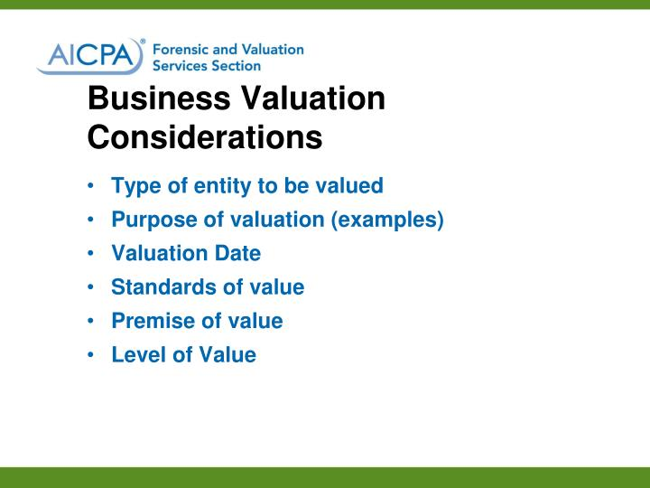 Business Valuation Considerations