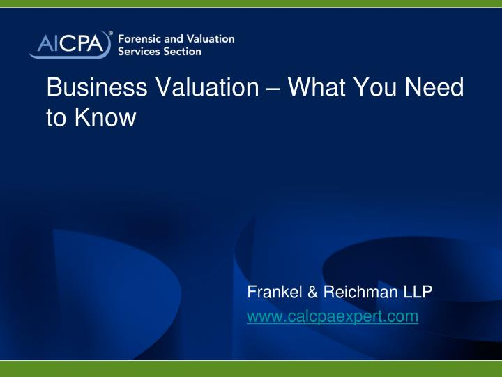 Business valuation what you need to know