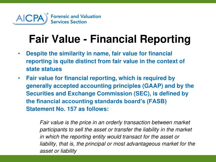 Fair Value - Financial Reporting