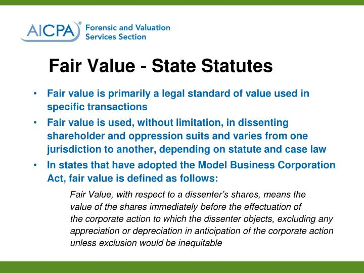 Fair Value - State Statutes