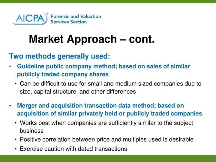 Market Approach – cont.