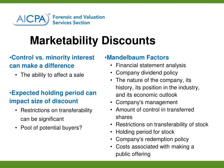 Marketability Discounts
