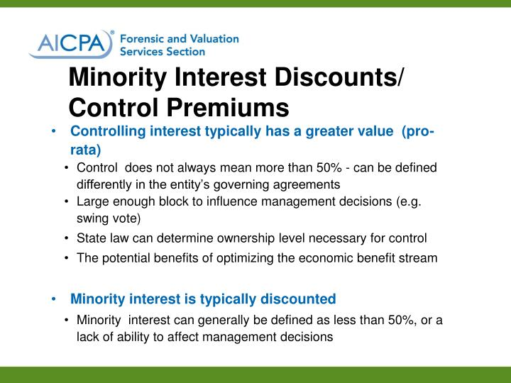 Minority Interest Discounts/