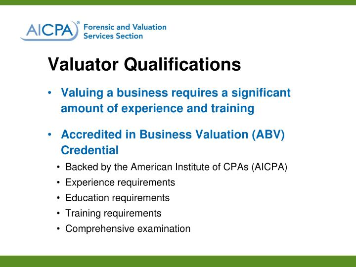 Valuator Qualifications