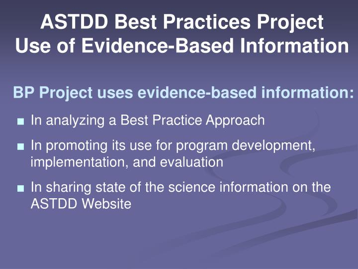ASTDD Best Practices Project