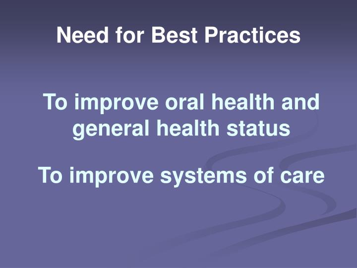 Need for best practices1