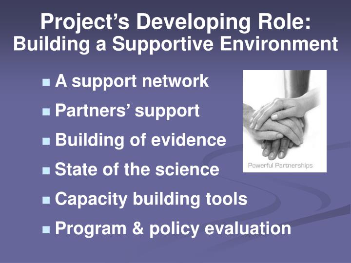 Project's Developing Role: