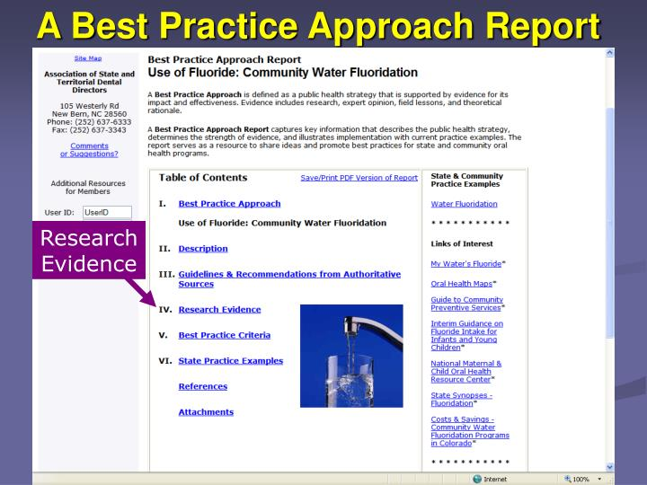 A Best Practice Approach Report