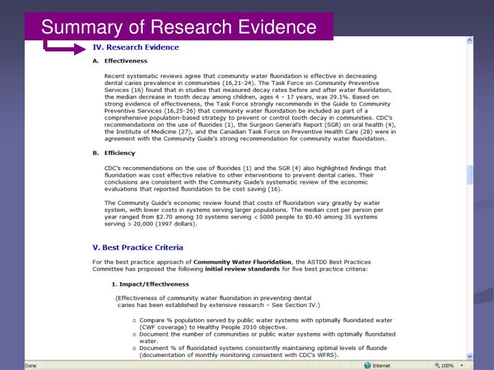 Summary of Research Evidence